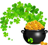 Vector pot of magic gold with clovers swirl isolated on white
