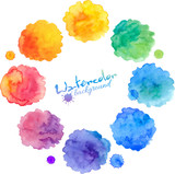 Fototapety Watercolor rainbow colors round stains vector set