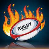rugby ball with flames and shadow design illustration eps 10