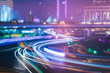 traffic light trails on road,shanghai,china. - 121887532