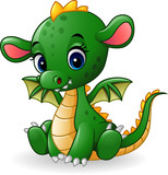 Cartoon baby dragon sitting