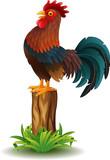 Cartoon Rooster standing on tree stump