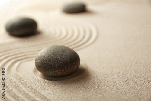 Foto op Canvas Zen Japanese Zen garden. Pebbles on a sand