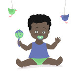 Baby boy sitting with a rattle. Vector cartoon illustration. American, African