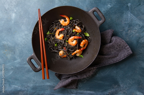 Black spaghetti with shrimp,
