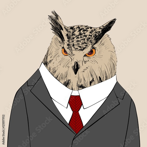 Vector sketch of owl in a suit. Hand drawn illustration - 121897952