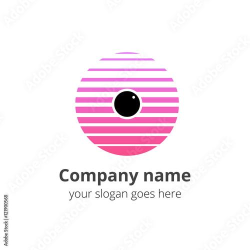 eye vision eyeball logo design in circle vector template pink