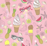 Cute summer abstract pattern. Seamless pattern with ice creams, - 121905330