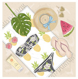 Summer fashion vector accessories set. Background with sunglasse - 121905390