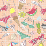 Cute summer abstract pattern. Seamless pattern with swimsuits, s - 121905396
