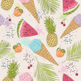 Cute seamless pattern with ice creams, pineapples. Vector backgr - 121905500