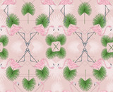 Cute hipster seamless pattern with flamingos and palm. Vector ba - 121905546