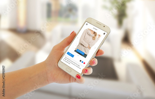 Poster Woman buy clothes with shopping app