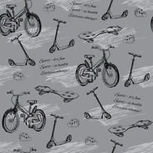 Ilustracja bez szwu wzór z ręcznie rysowane dziecko rowerów, skateb