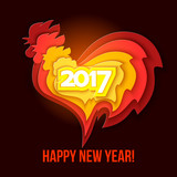 Happy New Year 2017 of the red rooster.