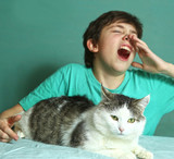 boy with allergy on cat fur sniff close up photo