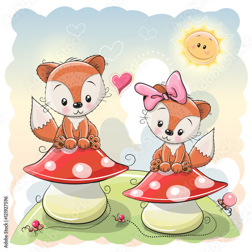 Fototapeta Two Cute Cartoon Foxes