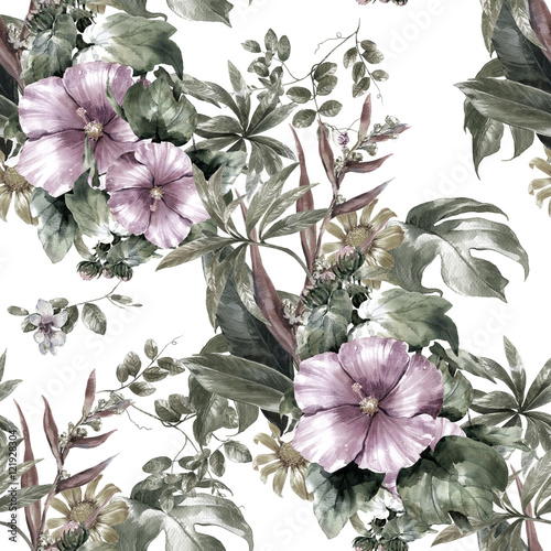 Watercolor painting of leaf and flowers, seamless pattern on white background - 121928304