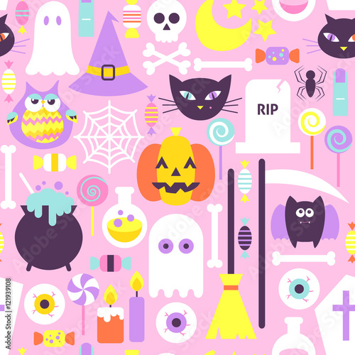 Cotton fabric Trendy Style Halloween Seamless Pattern