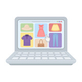 Online shopping icon in cartoon style isolated on white background. E-commerce symbol stock vector illustration.