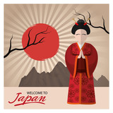 Woman with traditional cloth icon. Welcome to japan and asian culture theme. Colorful design. Vector illustration