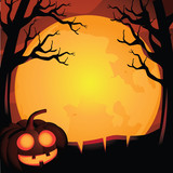 Halloween background with scary trees and jack o lantern. EPS 10 vector