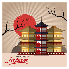Building icon. Architecture japan and asian culture theme. Colorful design. Vector illustration