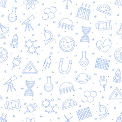 Science & research pattern blue icons