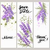 Fototapety Illustration greeting hand-drawn lavender floral background