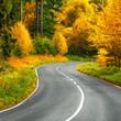 Stimmungsvolle kurvige Straße im Herbst