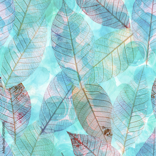 akwarela-wzor-z-turkusowy-niebieski-lisc-szkielet