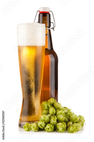 Beer glass on white background Canvas