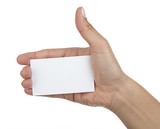 Business woman hand holding blank paper business card, closeup isolated on white background.