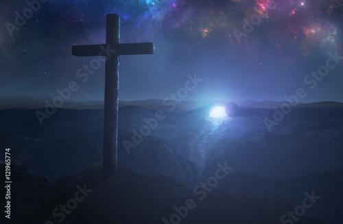 Empty tomb and cross