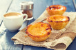 portuguese dessert pastel de nata with cup of coffee