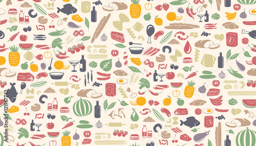 Fototapeta Seamless food pattern made from small illustrations.