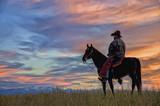 Cowboy on horseback silhouette,photo art - 121969939