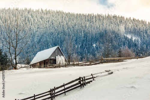 woodshed on the hillside in winter mountains