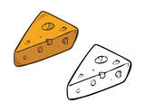 cartoon vector illustration of a cheese coloring book