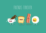 Funny breakfast. Сup of coffee, egg, bacon, toaster. Vector illustrations. - 121973194