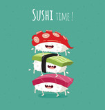 Sushi time poster.  Funny sushi on a black plate. Vector illustration. - 121973313