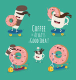 Funny characters coffee and sweet donut. Coffee is always a good idea. Vector illustration. - 121973348