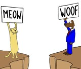 Color business image showing a business cat and dog who do not understand each other. - 121974387