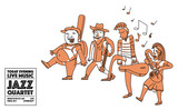 Jazz band musicians walking. Creative line art doodle illustration.
