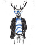 Fototapety Hand drawn dressed up deer in hipster style