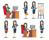 Office businesswoman in various situations vector characters cartoon flat set - 122010742