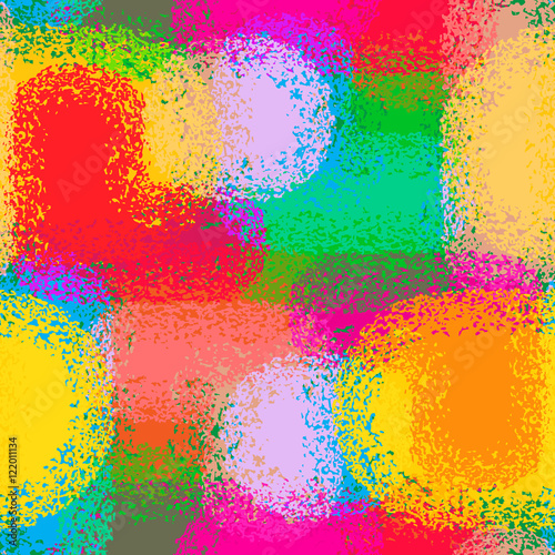 Abstract grunge seamless chaotic pattern with brushstrokes, blots, drops and splashes. Trendy colorful texture background. Modern wallpaper. Fashionable print with a shabby paint effect.