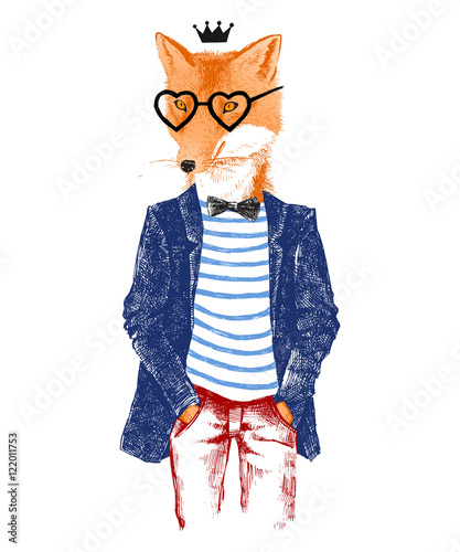 Hand drawn dressed up fox in hipster style - 122011753