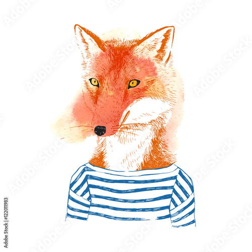 Hand drawn dressed up fox in hipster style - 122011983
