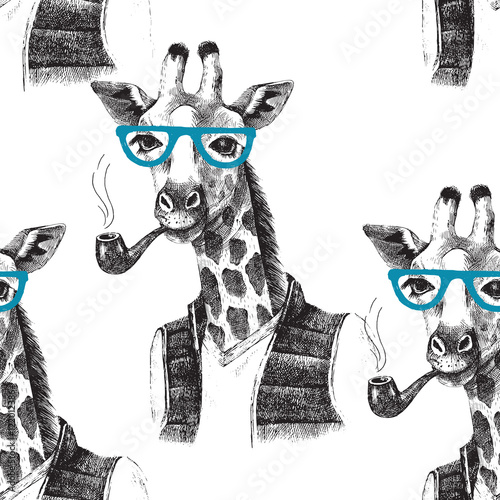 Seamless pattern with dressed up giraffe hipster - 122012386